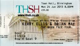 Ticket stub - Brian May live at the Town Hall, Birmingham, UK [24.06.2013]