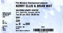 Ticket stub - Brian May live at the Salford Quays, The Lowry, Manchester, UK [25.06.2013]