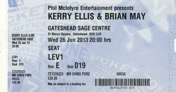 Ticket stub - Brian May live at the The Sage, Gateshead, UK [26.06.2013]