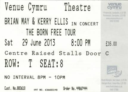 Ticket stub - Brian May live at the Venue Cymru, Llandudno, UK [29.06.2013]