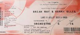 Ticket stub - Brian May live at the La Cigale, Paris, France [08.07.2013]