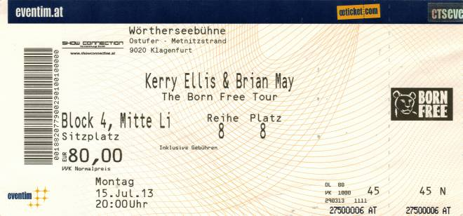 Ticket stub - Brian May live at the Wörtherseebühne, Klagenfurt, Austria [15.07.2013]