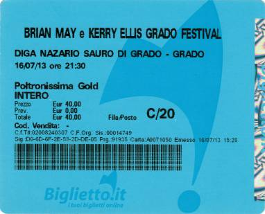 Ticket stub - Brian May live at the Diga Nazario Sauro, Grado, Italy [16.07.2013]