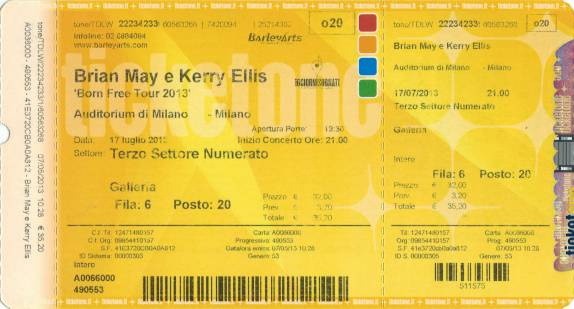 Ticket stub - Brian May live at the Auditorium, Milan, Italy [17.07.2013]