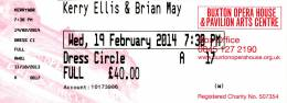 Ticket stub - Brian May live at the Opera House, Buxton, UK [19.02.2014]