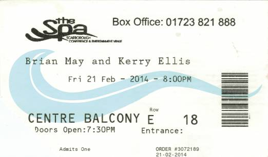 Ticket stub - Brian May live at the Scarborough Spa, Scarborough, UK [21.02.2014]