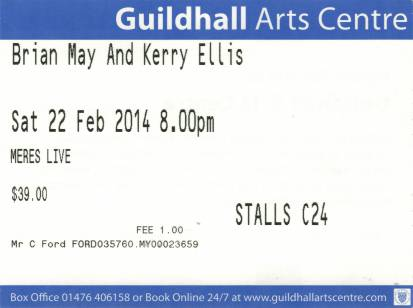 Ticket stub - Brian May live at the Grantham Meres Leisure Centre, Grantham, UK [22.02.2014]