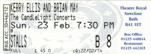 Ticket stub - Brian May live at the Theatre Royal, Bath, UK [23.02.2014]