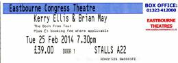 Ticket stub - Brian May live at the Congress Theatre, Eastbourne, UK [25.02.2014]
