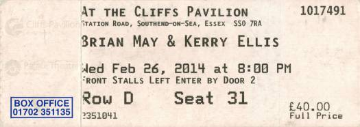 Ticket stub - Brian May live at the Cliffs Pavilion, Southend, UK [26.02.2014]