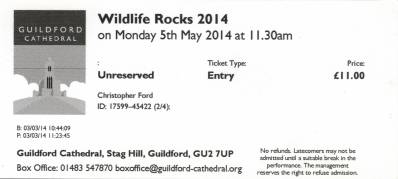 Ticket stub - Brian May live at the Guildford Cathedral, Guildford, UK (Wildlife Rocks) [05.05.2014]