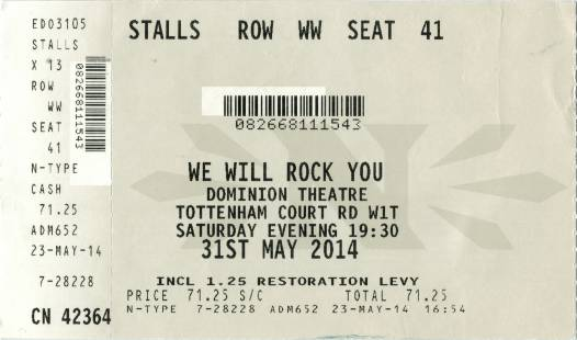 Ticket stub - Brian May live at the Dominion Theatre, London, UK (WWRY musical) [31.05.2014]