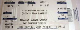 Ticket stub - Queen + Adam Lambert live at the Madison Square Garden, New York, NY, USA [17.07.2014]
