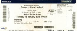 Ticket stub - Queen + Adam Lambert live at the Metro Radio Arena, Newcastle, UK [13.01.2015]