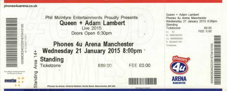 Ticket stub - Queen + Adam Lambert live at the Arena, Manchester, UK [21.01.2015]