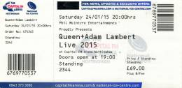 Ticket stub - Queen + Adam Lambert live at the Arena, Nottingham, UK [24.01.2015]