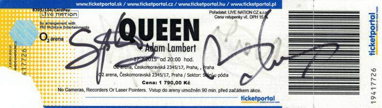 Ticket stub - Queen + Adam Lambert live at the O2 Arena, Prague, Czech Republic [17.02.2015]