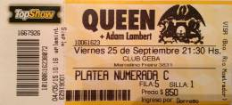 Ticket stub - Queen + Adam Lambert live at the Estadio GEBA, Buenos Aires, Argentina [25.09.2015]