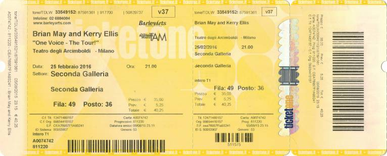 Ticket stub - Brian May live at the Arcimboldi, Milan, Italy [25.02.2016]