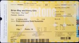 Ticket stub - Brian May live at the Arcimboldi, Mantova, Italy [27.02.2016]