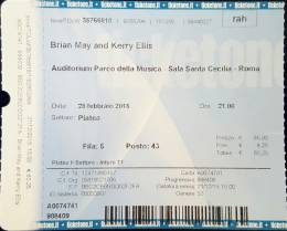Ticket stub - Brian May live at the Auditorium Parco della Musica, Rome, Italy [28.02.2016]