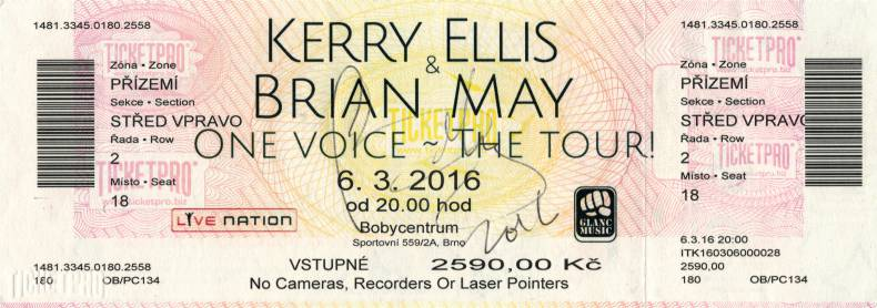 Ticket stub - Brian May live at the Bobycentrum, Brno, Czech Republic [06.03.2016]