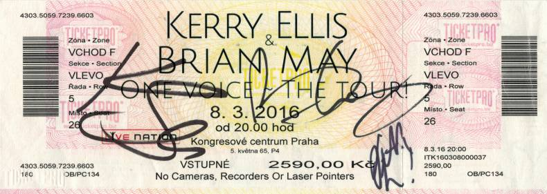 Ticket stub - Brian May live at the Kongresove centrum, Prague, Czech Republic [08.03.2016]
