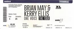 Ticket stub - Brian May live at the Incheba Hall, Bratislava, Slovakia [09.03.2016]