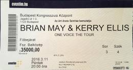 Ticket stub - Brian May live at the Congress Centre, Budapest, Hungary [11.03.2016]