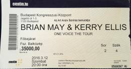 Ticket stub - Brian May live at the Congress Centre, Budapest, Hungary [12.03.2016]