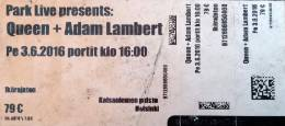 Ticket stub - Queen + Adam Lambert live at the Kaissaniemi Park, Helsinki, Finland [03.06.2016]