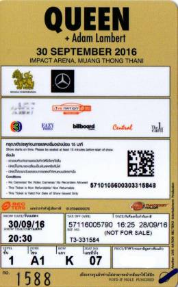 Ticket stub - Queen + Adam Lambert live at the Impact Arena, Muang Thong Thani, Thailand [30.09.2016]