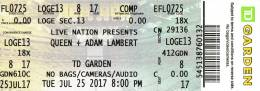 Ticket stub - Queen + Adam Lambert live at the TD Garden, Boston, MA, USA [25.07.2017]