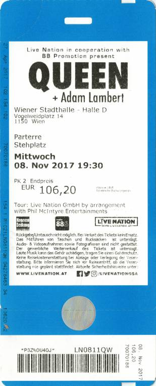 Ticket stub - Queen + Adam Lambert live at the Stadhalle, Vienna, Austria [08.11.2017]