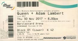 Ticket stub - Queen + Adam Lambert live at the Barclaycard Arena, Birmingham, UK [30.11.2017]