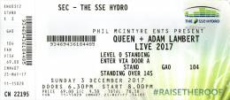 Ticket stub - Queen + Adam Lambert live at the The SSE Hydro, Glasgow, UK [03.12.2017]