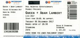 Ticket stub - Queen + Adam Lambert live at the Motorpoint Arena, Nottingham, UK [05.12.2017]