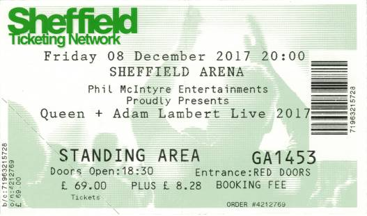 Ticket stub - Queen + Adam Lambert live at the Motorpoint Arena, Sheffield, UK [08.12.2017]