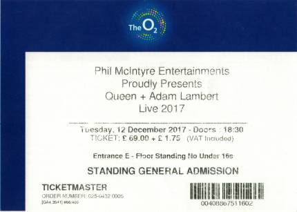 Ticket stub - Queen + Adam Lambert live at the O2 Arena, London, UK [12.12.2017]