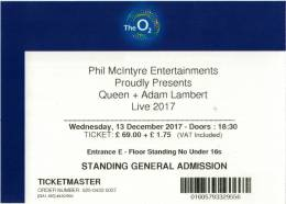 Ticket stub - Queen + Adam Lambert live at the O2 Arena, London, UK [13.12.2017]