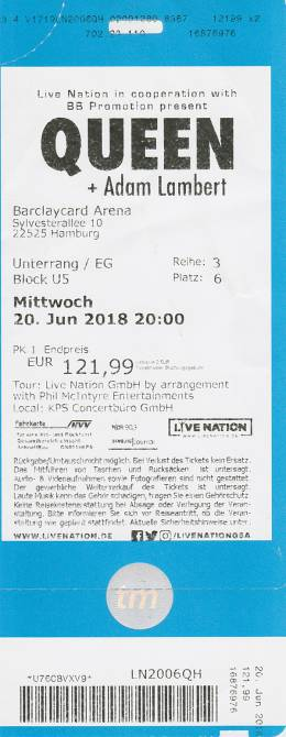 Ticket stub - Queen + Adam Lambert live at the Barclaycard Arena, Hamburg, Germany [20.06.2018]
