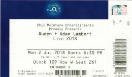 Ticket stub - Queen + Adam Lambert live at the O2 Arena, London, UK [02.07.2018]