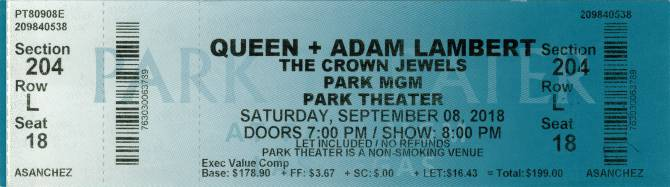 Ticket stub - Queen + Adam Lambert live at the Park Theater, Las Vegas, NV, USA [08.09.2018]