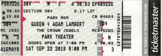 Ticket stub - Queen + Adam Lambert live at the Park Theater, Las Vegas, NV, USA [22.09.2018]
