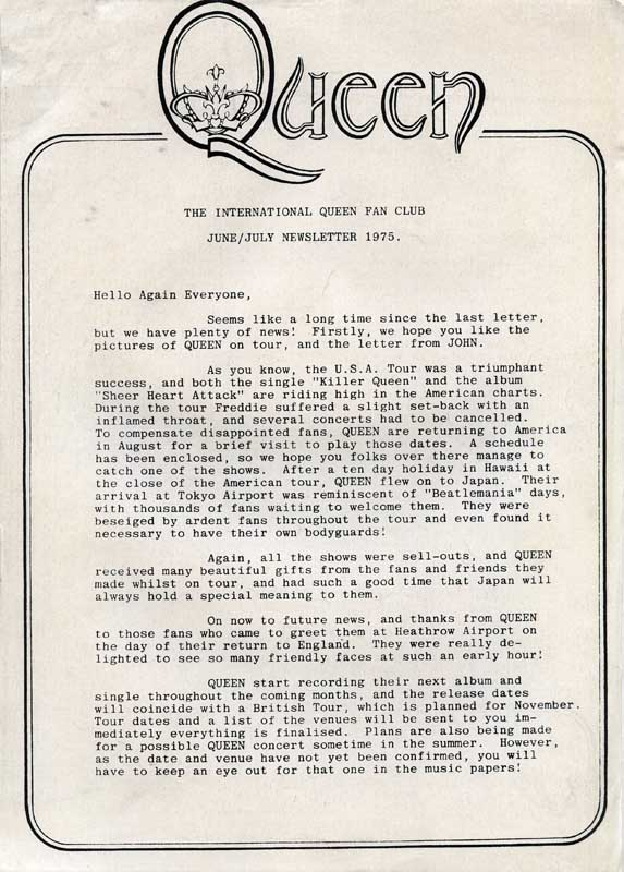 1975 official fan club newsletter