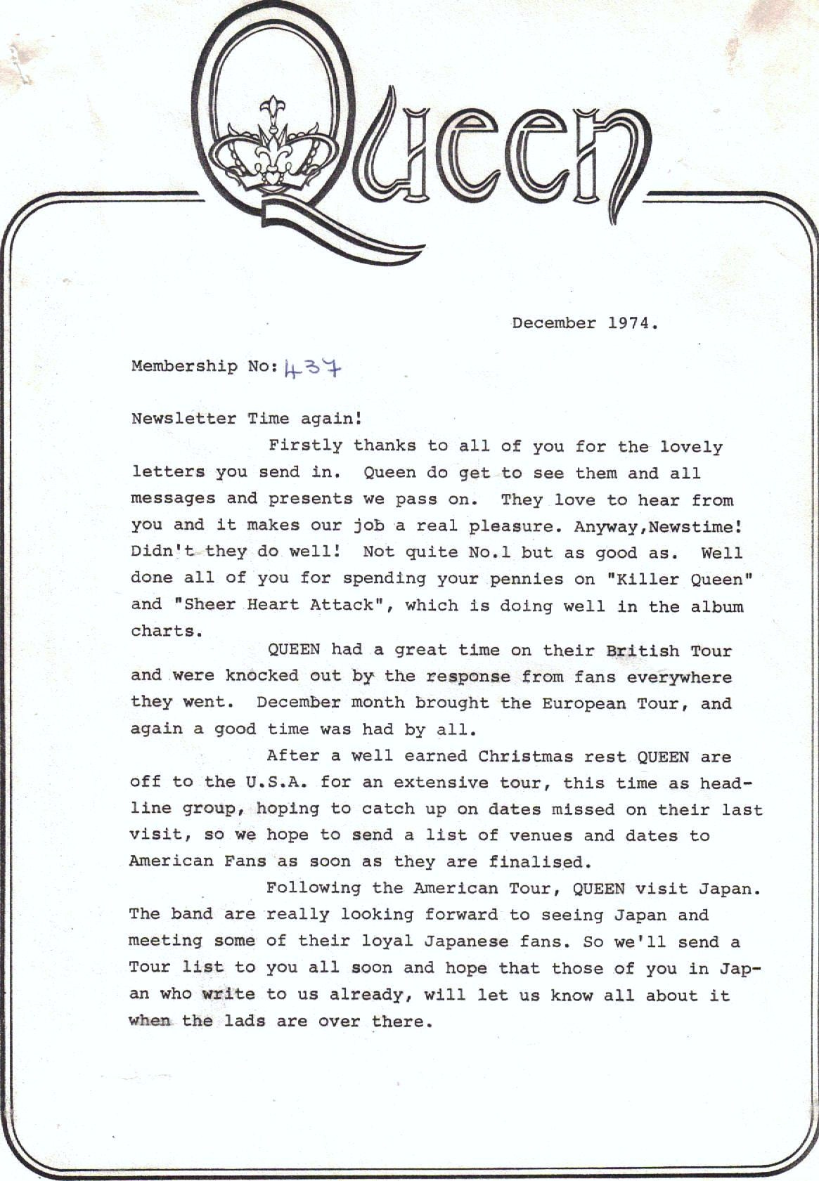 Christmas 1974 Queen newsletter