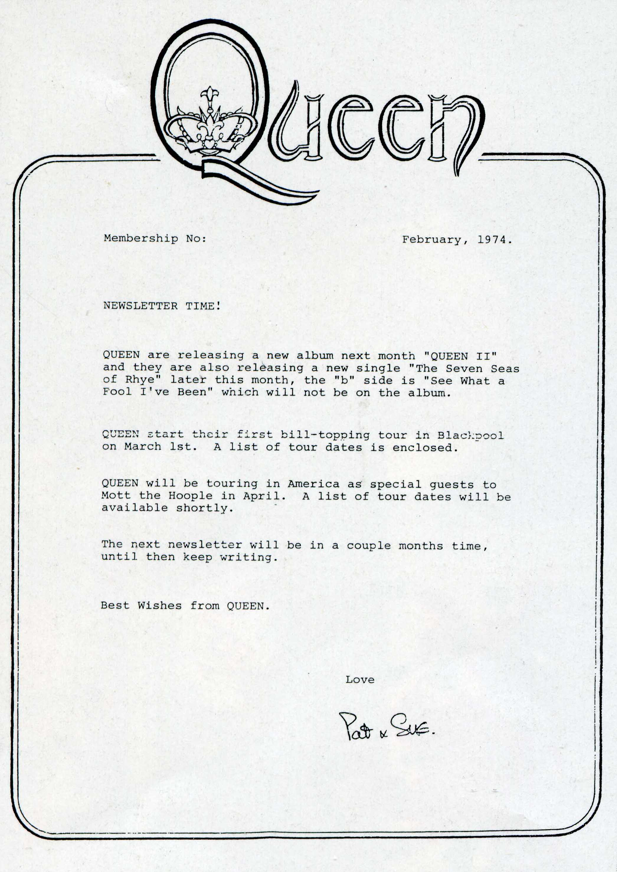 February 1974 Queen newsletter