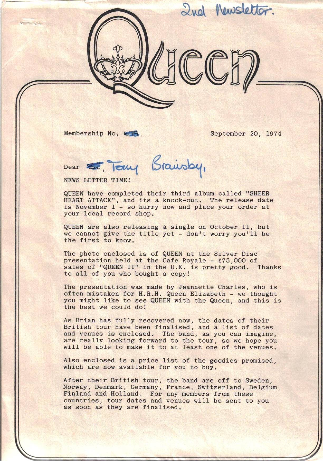 September 1974 Queen newsletter