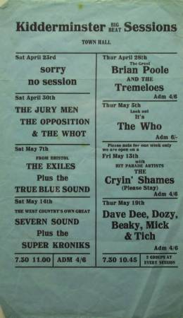 Flyer/ad - The Opposition in Kidderminster on 30.04.1966