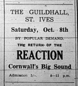 Flyer/ad - The Reaction in St. Ives on 08.10.1966